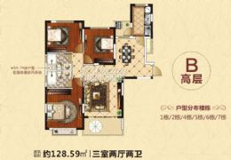 恒大翡翠华庭文武坝路129平米3室2厅2卫出售