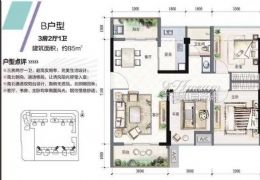 赣州宝能城 最美小3房 85平南北双阳台 125万