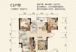 世纪嘉园117平大三房,南北通透双阳台,单价一万二