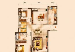 中海派109平米南北通透三房,29楼,仅需138W