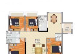 中海铂悦公馆127平,四房,三个大阳台!售162万